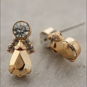 Anthropologie Triplicity Cluster Gold Stud Earring